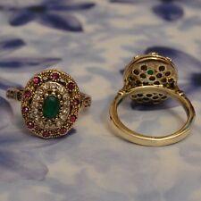 Dolly-Bijoux Fantaisie Bague Marquise Emeraude, Diamant et Améthyste Cz T54 à 64