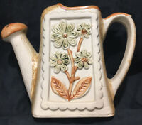 """WATERING CAN POTTERY Japan 7"""" x 9.25"""" Functional Vintage Brown w/ Flower Detail"""
