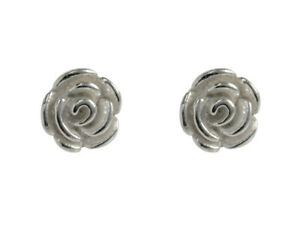 New Pair 925 Solid Sterling Silver Rose Design Earrings