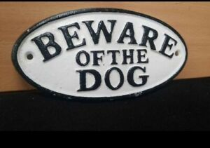 """NEW ** CAST IRON VINTAGE STYLE """" BEWARE OF THE DOG """" SIGN GATE"""