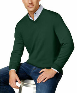Club Room Mens Sweater Green US Size Medium M V-Neck Solid Pullover Wool $75 050
