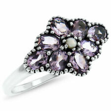 925 Sterling Silver Amethyst Ring Size-6