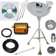 Directv HD SL3 LNB 4 Out Portable Satellite Dish RV Camping Tailgating