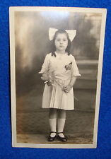 Vintage Real Photo Postcard a Little Girl with a Flower RPPC