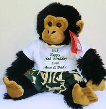 Personalised Teddy Bear Birthday Monkey Large Teddie Gift Camo Outfit - Chimp