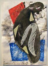 Sergio DANGELO (Milano 1932) PENSIERO A MAIASTRA Dipinto + collage cm 30x21