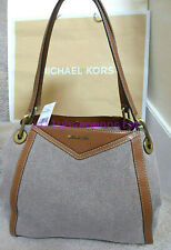 MICHAEL KORS Raven Large Pocket Shoulder Tote Bag Natural Brown New Tag