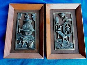 2   Wood  Copper wall  plaque    spinning wheel   Japan