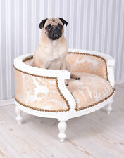Hundebett Barock Hundesofa Creme Bett für Mops & Bully