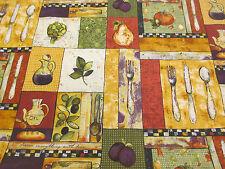 4 metri di cibo, pic-nic patchwork stampato 100% COTONE CRAFT TESSUTO.