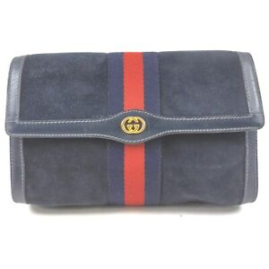 GucciParfums Clutch  Navy Blue Suede Leather 1133169