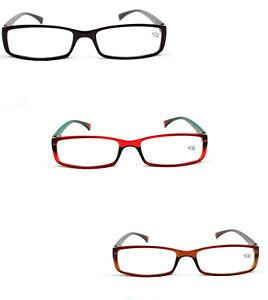 2 Pairs Slim Frame Spring Hinged Reading Glasses Mens Womans Retro Fashion TN04