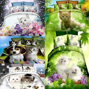 Pets Kittens Puppy Kids Single Duvet Cover Pillowcase Children Bedding Set