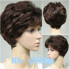 2015 sexy women@men wig 100% Real Human Hair short Brown Natural Hair wigs/wig