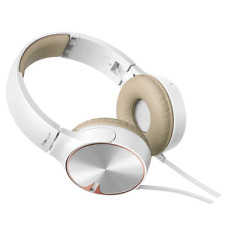 Pioneer SE-MJ722T in White/Tan - Bass Head on Ear Headphones with inline mic