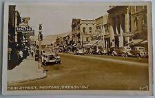 Antique Real Photo Postcard-Main Street-Medford Oregon-1938