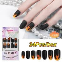 Short Round Head Fire Flame Nail Tips Full Cover Manicure Tool Fake Nails