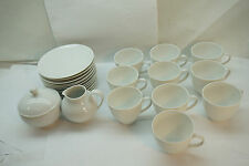 HUTSCHENREUTHER CHINA WHITE CHARMANT 24 PC SET CUP SAUCER SUGAR CREAMER GERMANY