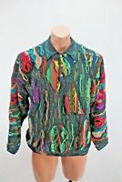 VTG 90s NEON COOGI Australia Cosby BIGGIE Cosby sweater 3-Button Polo Mens Small