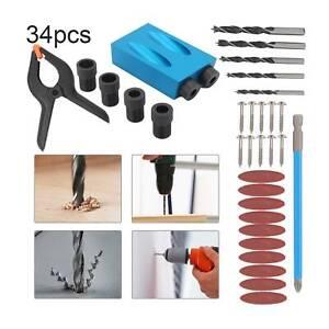 34pcs Pocket Hole Jig Kit Woodworking Guide Oblique Drill Angle Hole Locator UK