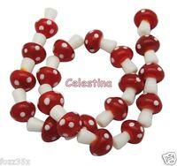 10 x 14mm Red & White Glass Fairy Mushroom / Toadstool Lampwork Beads - GB51