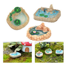 3pc Resin Moss Mini Landscape Ornaments Fairy Garden Lotus Pool Decor Craft Diy