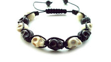men's bracelet shamballa beaded gift BLACK WHITE SKULL stone beads wristband men