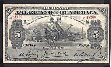 Guatemala p- s117a , Vf, 5 Pesos, 1919