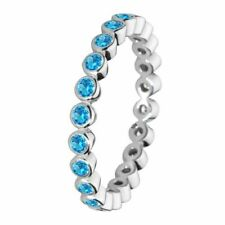 Size 6 Sterling Silver Aqua Blue Round Stone Cubic Zirconia Stacking Ring Band
