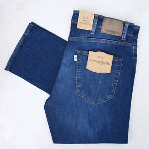 Designer Panno Lusso Slim Fit Straight Leg Mens Jeans Stretch Denim Dark Blue