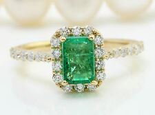 2.68CTW Natural Colombian Emerald and Diamonds in 14K Solid Yellow Gold Ring