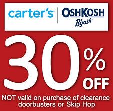 2x Carter's / Oshkosh 30 % off coupon code (Valid through January 30, 2021)