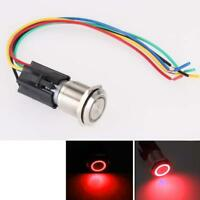 For Angel Eye 19mm 12V Car Red LED Light Metal Push Button Toggle Switch Sale ZH