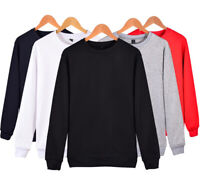 Mens Plain Sweatshirt Crew Neck Sweater Pullover Work Casual Long Sleeve Tops