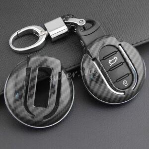FOR Mini Carbon Fiber Hard Shell Car Smart Key Fob Chain Case Cover F54 F54 F56