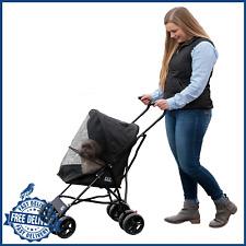 Pet Travel Stroller Compact Large Wheels Lightweight Foldable Mesh Ventilation