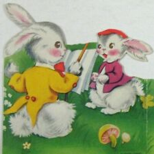 A Meri Card Easter Day 1949 Used Anthropomorphic Rabbits Singing Die Cut