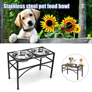 Double Bowl Dog Cat Feeder Elevated Raised Stand Feeding Food Water Pet Dish New