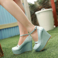 Fashion Round Toe Wedge Pumps Platform High Heels Women's Ankle Buckle Shoes