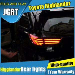 2014-2018 For Toyota Highlander Dark / Red LED Rear Lights Assembly Tail Lamps