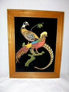 Vtg 1974 Paint By Number PBN Game Birds Pheasants on Black Velvet Framed