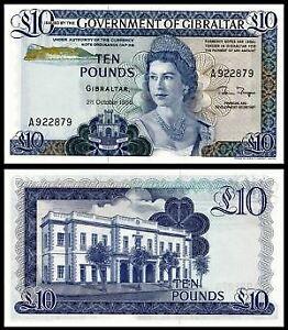 Gibraltar 10 Pound 1986 QEII (PERFECT UNC) 全新 直布罗陀 10镑 1986年版 纸币