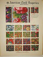 Antique fabric samples salesman's catalog 1919