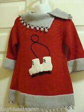 ZACKALI 4 KIDS GIRLS SIZE 2 RED & GRAY SWEATER DRESS-ICE SKATES-CROCHET LOOK