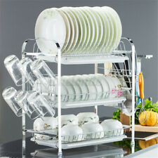 New listing 3Tier Stainless Steel Dish Drying Rack Organizer Drainer Cutlery Drainer Kitchen