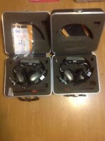 Vintage U'nicom Headsets With Hard Cases 14.8 Decibel Noise Reduction