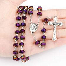 Deep Purple Crystal Beads Rosary Catholic Necklace Holy Soil Medal & Metal Cross