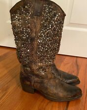 Frye Deborah Studded Tall Leather Boots Brown Grey #77860 - Size 8.5 - MSRP $698