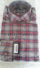 NEW Charles Tyrwhitt Men's Red Grey Check Slim Fit Shirt Extra Small Chest 36""