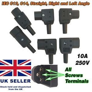 Rewireable IEC C13 C14 Connector Plug Screws Terminals Right Left Angle Elbow UK